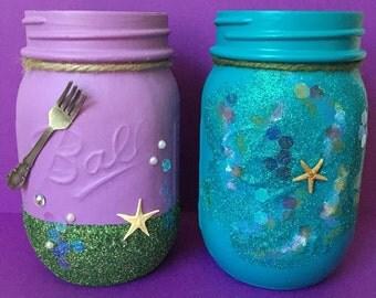 Mermaid mason jars- little mermaid, ocean mason jar- home decor