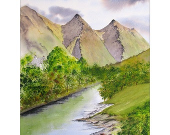 Limited edition giclee print (50), of my watercolour painting of Shiel Bridge, Scottish Highlands, Size is 400mm x 500mm, Great gift