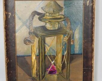 "Lantern - FRAMED Original Artwork - Glossy Acrylic painting - 13.25"" x 15.25"""