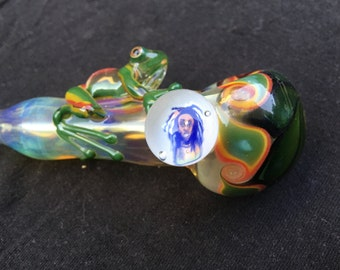 Rasta Frog Pipe w/ Bob Marley Millefiori