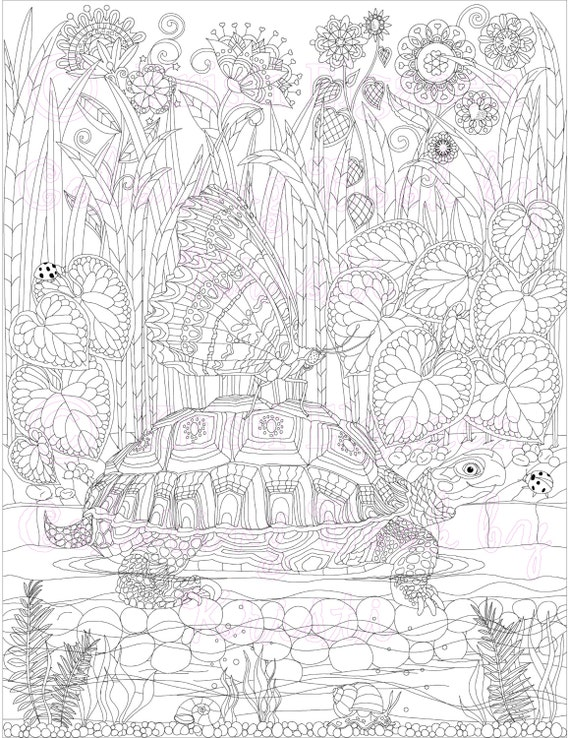 Adult coloring page fantasy art coloring pages digital Electronic coloring book for adults