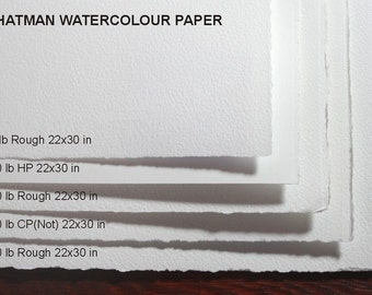 Whatman Watercolor Paper (22x30 in) - set of 5 different sheets - VERY RARE