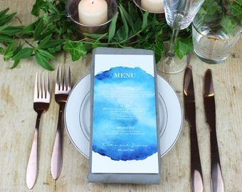 Blue Watercolour Wedding Menu Card, Coastal Wedding Theme Menu Card