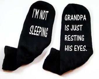 Wine Socks, Grandpa Stocking Stuffer, Grandpa's not sleeping, Gift for Grandpa, Dad Gift, Funny Socks, Mens size