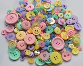 PASTEL - Plastic Buttons / Assorted Buttons - 50g, 100g, 300g, 500g.