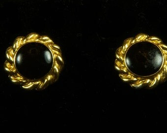 Ann Klein goldtone and black enamel button earring clips. Classics!