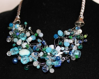 Big Blue braided necklace stones and crystals