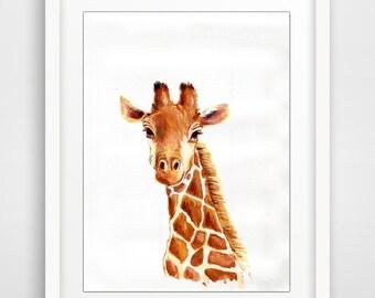 Giraffe Print - Digital Painting - Giraffe Art, Giraffe Face, Giraffe Safari Art, Giraffe Room Decor, Giraffe Wall Art