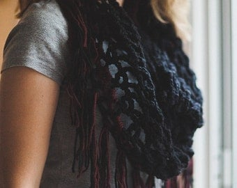 Black and Red Fringed Triangle Scarf