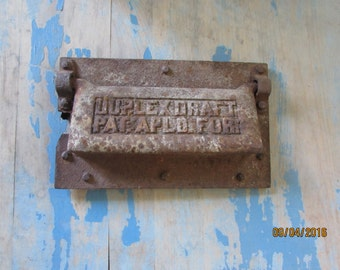 antique rusty metal mail slot, letter slot, post plate