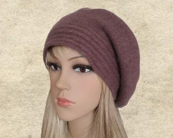 Ladies felted beret, Slouchy wool beret, Felted wool beret, Slouch beret wool, Winted felted beret, Womens beret felt, Wide brim beret
