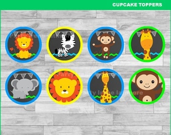 Baby Jungle Animals cupcakes toppers Instant download, Baby Jungle Animals Chalkboard toppers, Jungle toppers