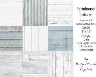 "9 Digital papers - Farmhouse Textures high resolution 300 DPI 12"" x 12"" - for SVG displays 
