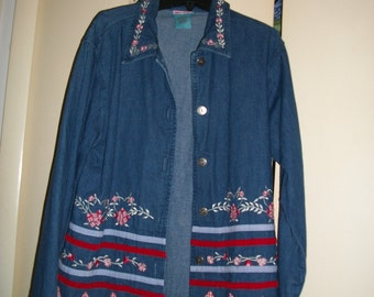 Vintage Denim Shirt/Jacket with Multi-Color Embroidery Size L (12-14)