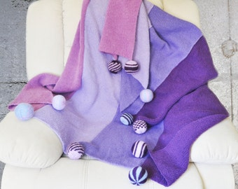 Knitted Afghan, Lilac Shades Luxury Throw Blanket, Gorgeous Bedspread