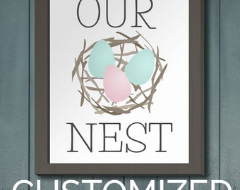 "Printable Art 8x10 Download: ""Our Nest"" Customizable Eggs Family Decor Print"