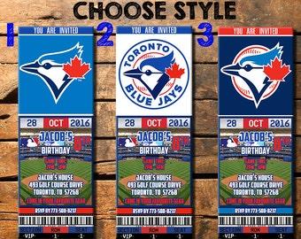 Toronto Blue Jays Birthday Ticket Invitation, Toronto Blue Jays Invite, Toronto Blue Jays, Toronto Blue Jays Invitations
