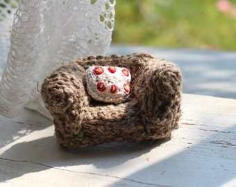 Miniature sofa with tiny pillow / Fridge magnet / brooch / Bridesmaid Gift / Housewarming Gift