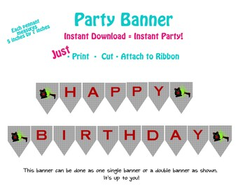 Printable Laser Tag Birthday Party Banner  Laser Tag Party Banner