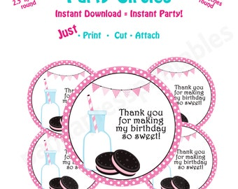Milk and Cookies Birthday Party Favor Tags -- Instant Download -   Printable Milk and Cookies favor tags