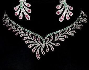 Set necklace + earrings in Sterling Silver 925/1000 rubies + emeralds
