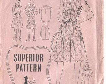 "1940s Vintage Sewing Pattern B32"" Dress , Shirt , Shorts & Skirt (R151) Superior Pattern 9781"