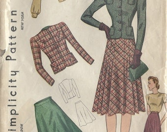 "1940s Vintage Sewing Pattern JACKET, SKIRT & BLOUSE B34"" (R255)   Simplicity 3182"