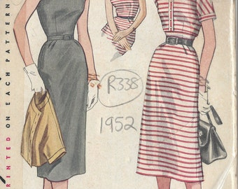 "1952 Vintage Sewing Pattern B31"" DRESS & JACKET (R338) Simplicity 4189"