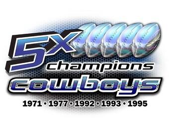 Cowboys 5x Champions Dallas T-shirt, tank or sleeveless M L XL 2X 3X 4X 5X Women Ladies Men NEW