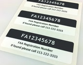 Set of 3 Premium FAA Drone Registration Labels/Stickers in Charcoal Color, FAA-Compliant, Waterproof and Easy to Remove
