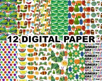 Hungry Caterpillar Digital Paper Clipart - 12 jpeg files 12x12 inches 300 dpi