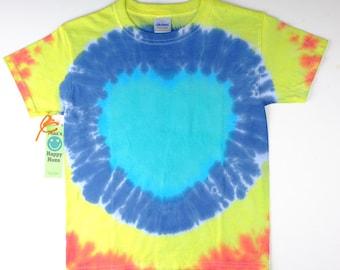 heart shaped tie dye t shirt ( Size S - Youth )