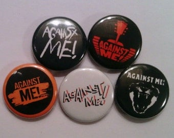 "5 x Against Me! 1"" Pin Button Badges ( punk rock music )"