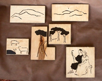 "Modular picture ""Tranquilium"", handmade wooden wall art, interior design"