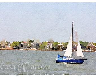 Sailboat art print, watercolor style image, instant digital download