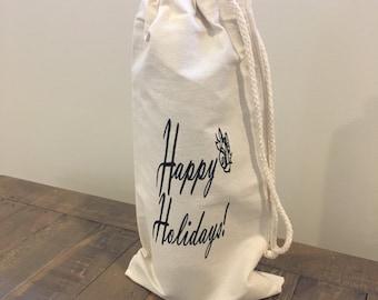 Happy Holidays, December, Christmas, Winter, Holiday Wine Bag, Bells, Party Bag,  Canvas Wine Bag, Champagne Bag, Wine Bag