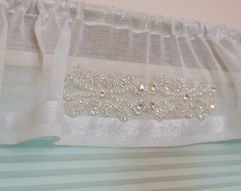 Rhinestone white sheer valance,  Silver and white valance with rhinestone appliques,  Window treatments