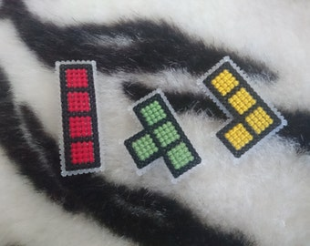 Cross Stitch Tetris Badges