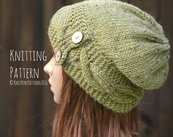 Knitting Pattern PDF Instant Digital Download Womens Cable Button Band Slouchy Beanie Hat Knit It Yourself KPWS18
