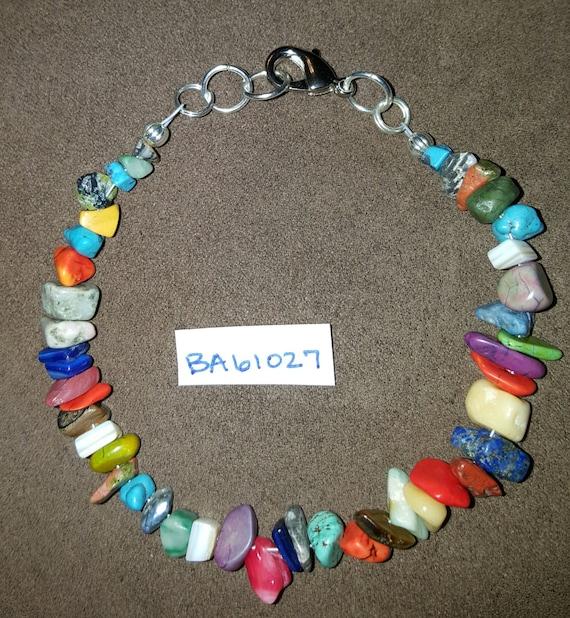 Multi-colored Chip Bracelet / Turquoise Chip Bracelet / Natural Stone Bracelet / Boho Jewelry / Hippie Bracelet / Stone Bracelet /BA61027