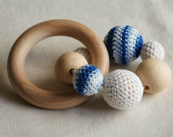 Baby Teething Ring Toy (Natural Crochet Cotton Beads/Rings)