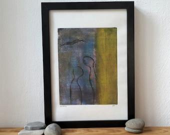 Abstract monoprint, monotype print, abstract art, original artwork, dancing people, lover couple, flying bird, linoprint, wall decor, lino