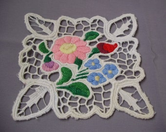 Lovely,Vintage,Hungarian handmade embroidered RICHELIEU doily,Kalocsa flower pattern,Cottage/Shabby Chic