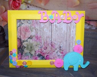 Custom Handmade Baby Girl Picture Frame/Baby Shower Gift/Baby Frame/Pink  Baby