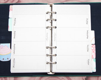 Personal sized PRINTED planner inserts - Handwritten - Week on two pages - Horizontal