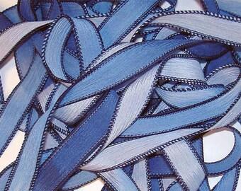 "1PC. FULL MOON 42"" hand dyed wrist wrap bracelet silk ribbon//Yoga wrist wrap bracelet ribbons//Hand dyed Boho Silk wrist wrap ribbon"