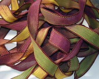 "1PC. FALL MUMS 42"" hand dyed wrist wrap bracelet silk ribbon//Yoga wrist wrap bracelet ribbons//Hand dyed Boho Silk wrist wrap ribbon"