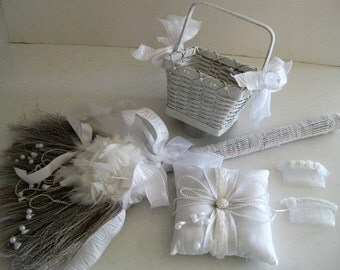 Paris Fantasy Broom with Feathers, Pearls and Lace  and coordinating Flower Basket, Ring Bearer Cushion and Decoratiave Combs