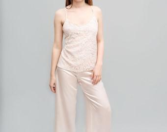 Silk Pajamas Pants -Pink, pure silk, sleepwear, luxury lingerie, silk lingerie, silk sleepwear, silk pants, silk pajamas, pajamas pants