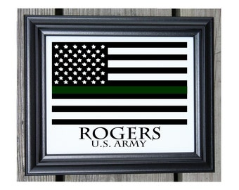 Military Gift Cotton Print | Thin Green Line | Army Gift | Gift For Soldier | US Army | American Flag Green Line | Last Name Est | Military